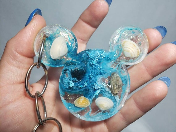 Mermaid Under the Sea Mouse Ears Resin Keychain with Sparkles Blue and Silver Sea Shell Charm