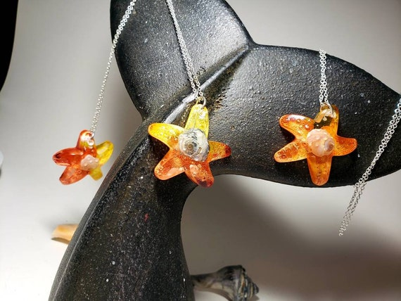 Starfish Necklace with Real Snail Shell with Hint of Sparkles