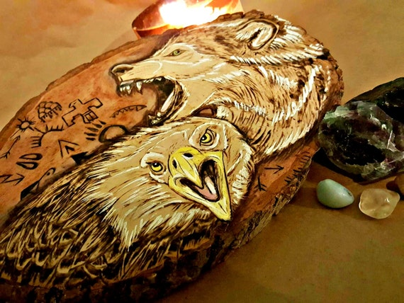 American Eagle and Wolf Pyrography Wood Burning with Native American Symbols OOAK