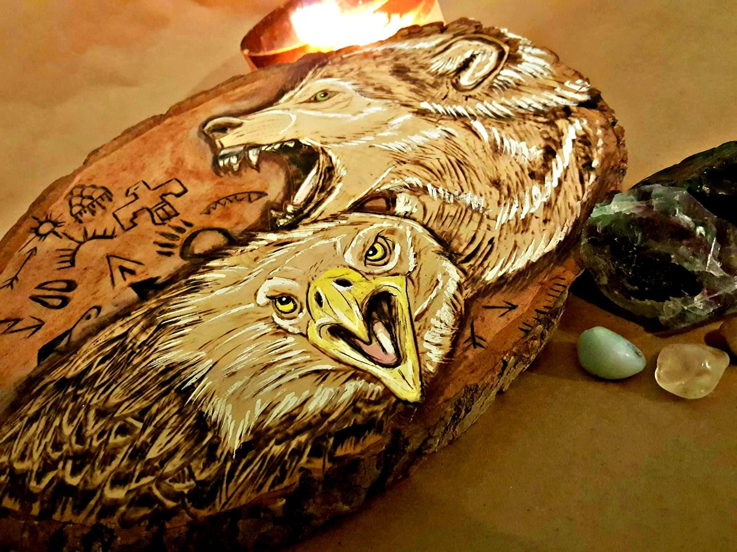 American Eagle And Wolf Pyrography Wood Burning With Native American