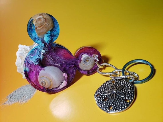 UNDER the Sea Nautical Resin Mouse Ears Keychain with Hint of Sparkles and Sand Dollar Charm with New Jersey Snail Sea Shells