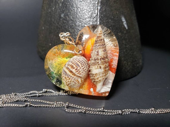 Florida Sea Shell Heart Pendant In Resin with Alochol Ink Mermaid Necklace
