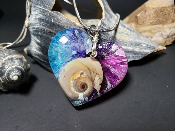 Snail Sea Shell in Resin with Alcohol ink from New Jersey Shore Mermaid Necklace