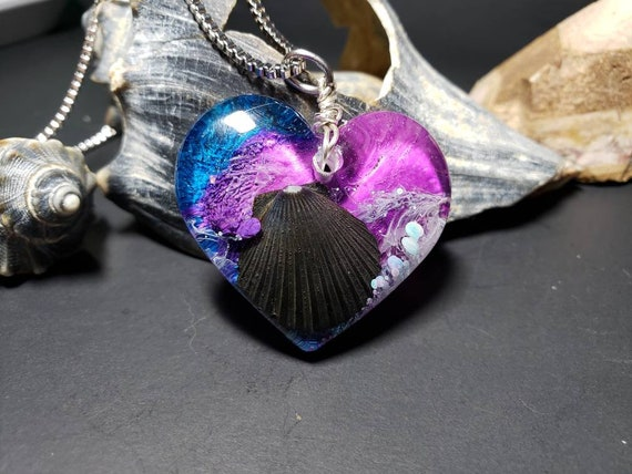 Black Scallop Shell Pendant in Resin with Pink Purple Blue Alcohol Ink Heart Necklace from New Jersey Shore Beaches