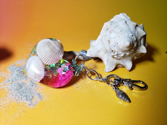 Mermaid Magic Charm or Keychain Heart with Real Sea Shells from the New Jersey Shore with Pink and Sparkles