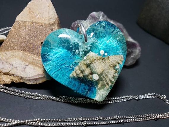 Alcohol Ink and Resin Heart Necklace with Florida Sea Shell Blue and White Silver Chain
