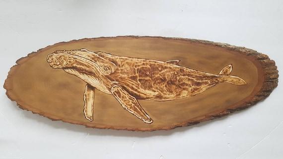 Humpback Whale Wood Burning Pyrography Wood Art