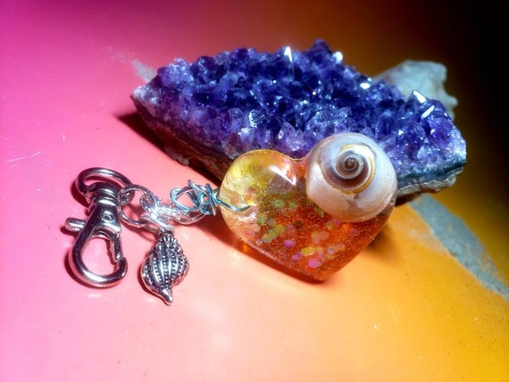 Mermaid Heart Charm with Real Sea Shell from the New Jersey Shore inside with Sparkles in Rein Keychain Charm
