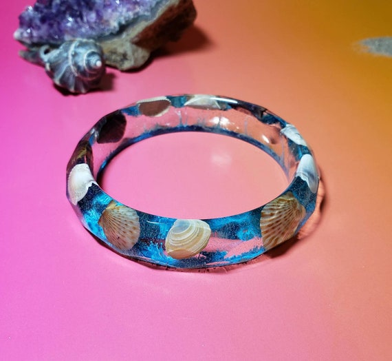 New Jersey Shore Nautical Mermaid Bangle Bracelet Resin and Alcohol Ink Under the Sea