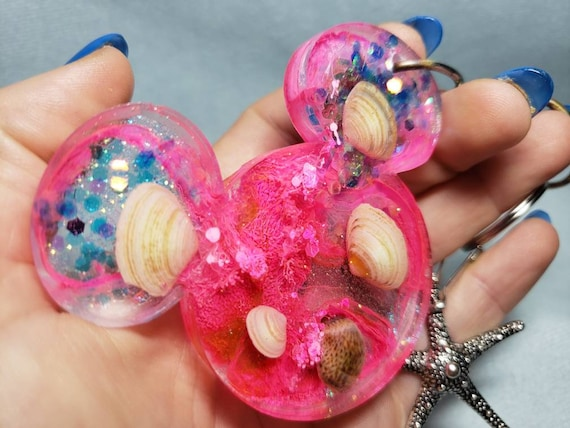 Mermaid Under the Sea Mouse Ears Resin Keychain with Sparkles Hot Pink and Starfish Charm
