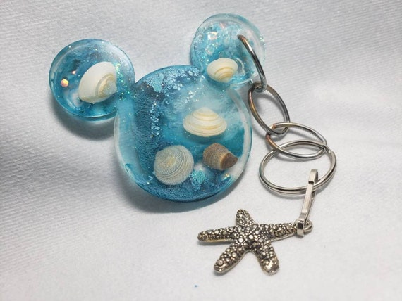 Mermaid Under the Sea Mouse Ears Resin Keychain with Sparkles Blue and Starfish Charm