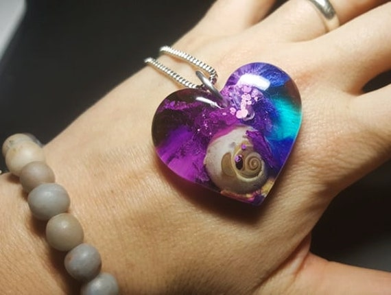 Resin Heart Pendant with Snail Sea Shell and Pink Blue and Purple Alcohol Ink Necklace with Silver Box Metal Chain