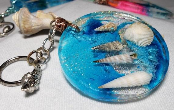 Ocean Blue Florida Sea Shells Circle Resin Keychain Mermaid Seashell