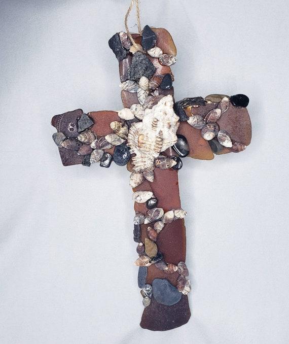 Brown Sea Glass, Shell Art, Jersey Shore,  Seashell Cross, Christian Cross, Mermaid Art, Nautical Decor,  Beach House, Surfs Up, Wood Cross