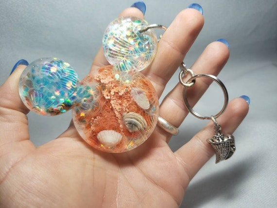 TROPICAL Mermaid Under the Sea Mouse Blue and Orange Keychain with Sparkles  and Seashell Charm