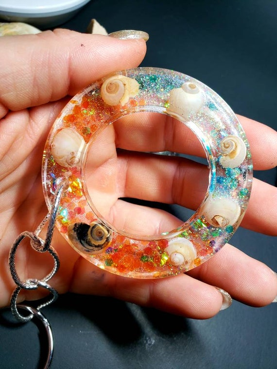 O Ring Circle Pendant  with Hologram Sparkles and New Jersey Shore Snail Shells in Resin with Keychain and Sea Shell Charm
