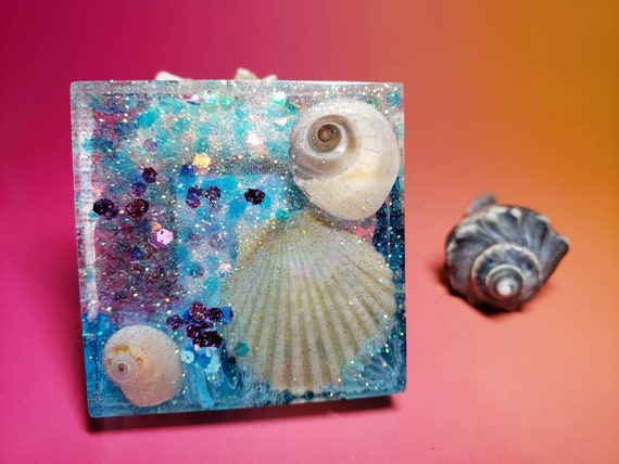 Under the Sea Beautiful Sparkles with Seashells Magnet or Paperweight from New Jersey Shore in Resin with Alcohol Ink