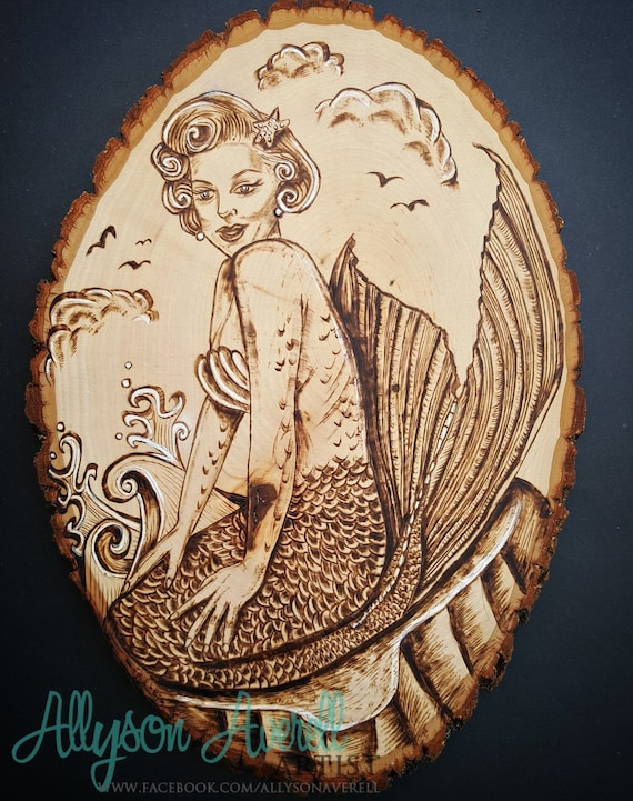 One Of A Kind Marilyn Monroe Inspired Beautiful Mermaid Pyrography Portrait Wood Burning