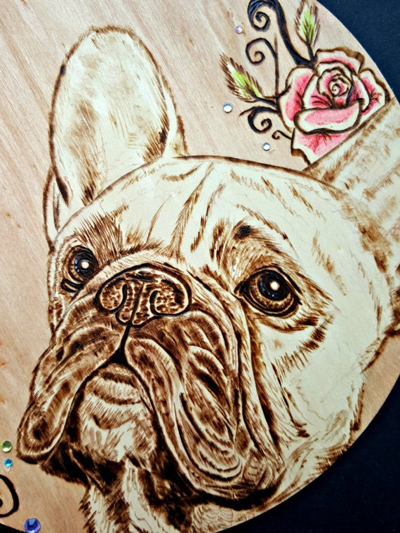 French Bulldog Portrait Wood Burned on a 10 Inch Circle Pyrography OOAK