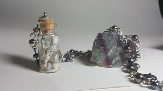 Mermaid Tears and Treasure Mini 2ML Glass Necklace Cape May Diamonds, Sea Shells, and Sea Glass