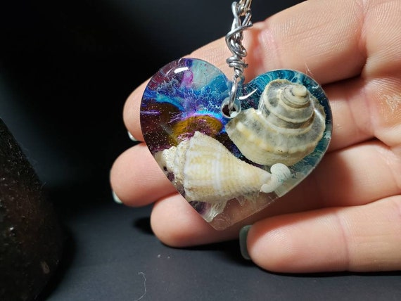 Resin Florida Sea Shell Heart Pendant with Alcohol Ink on a Silver Box Chain Mermaid Necklace