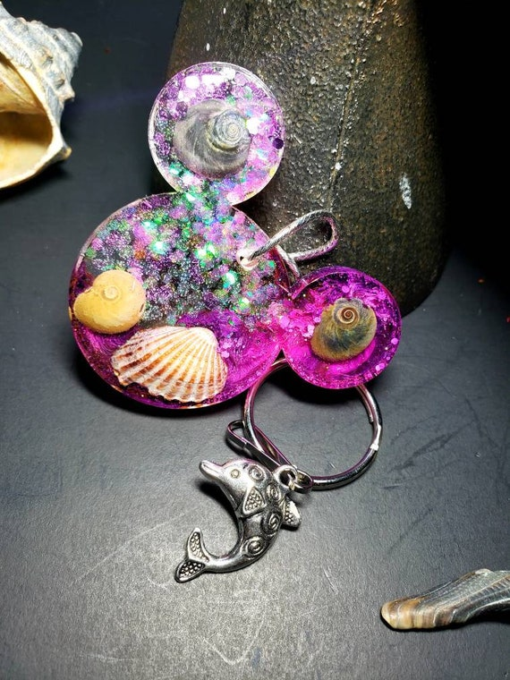 Mermaid Mouse Ears New Jersey Shore Sea Shells in Resin Keychain with Sparkles Pink and Purple and Silver Dolphin Charm