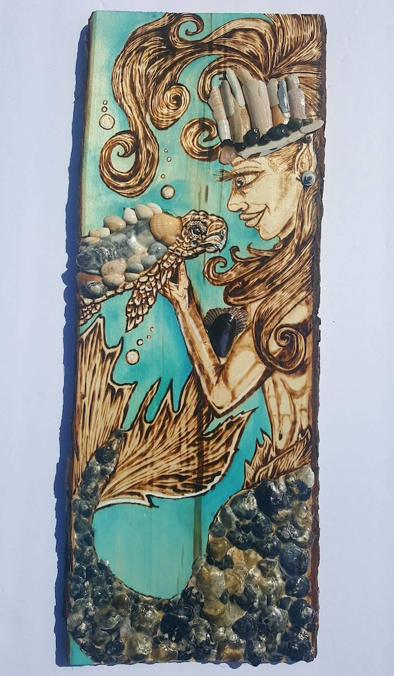 Mermaid with Baby Sea Turtle Wood Burning and Seashell Pyrography with a Touch of Rose Quartz