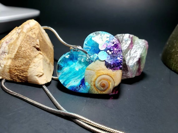Ocean Wave Resin Heart Snail Shell Pendant with Alcohol Ink from New Jersey Shore Beaches Silver Rope Chain Mermaid Necklace