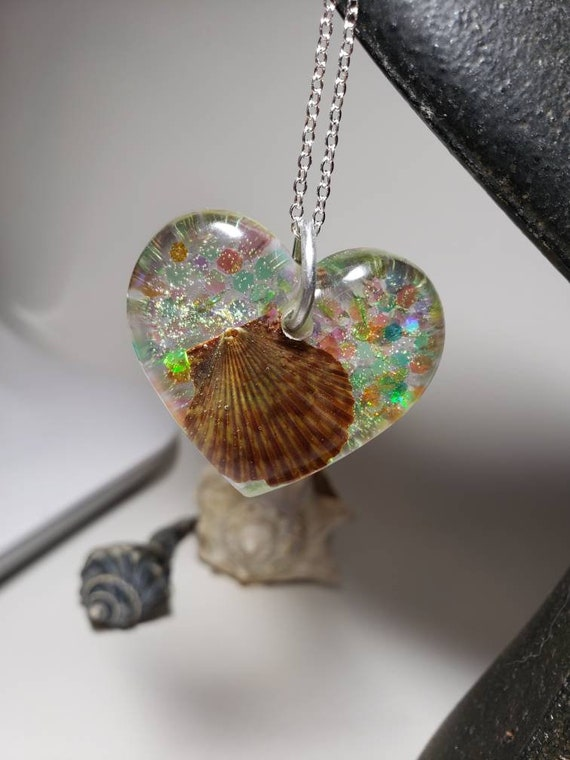 Mermaid Heart Necklace with Sparkles and Real Sea Shell