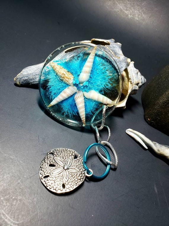 Florida Sea Shell Resin Circle Keychain with Mermaid Alcohol Ink So Nautical and Silver Sand Dollar Charm