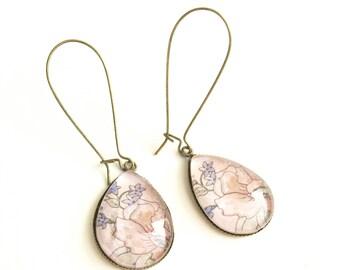 Pink watercolor teardrop earrings, glass tile earrings, vintage earrings for women