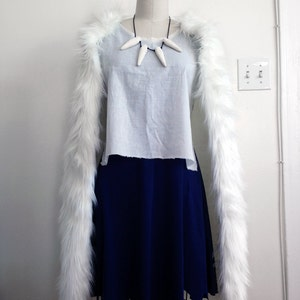 princess mononoke san wolf faux fur pelt cape only cosplay white fur costume custom made handmade