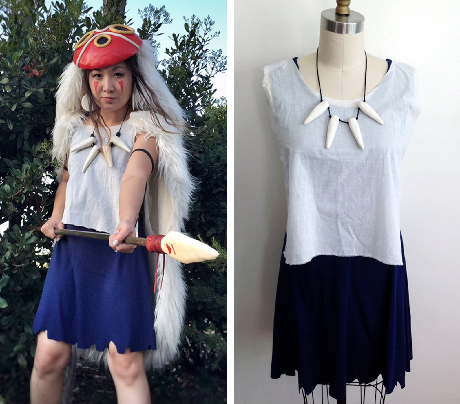 Princess Mononoke San Dress and Shirt set Cosplay Costume only Custom Made Handmade