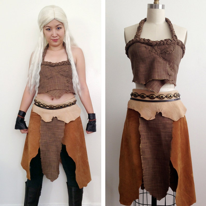 Daenerys Targaryen Cosplay Game of Thrones Khaleesi Dothraki Leather Costume Handmade Set