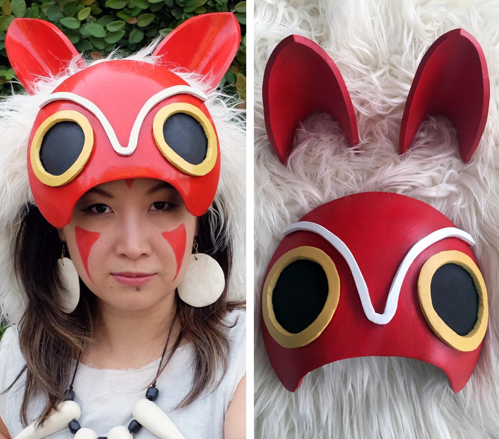 Princess Mononoke Half Mask Cosplay Costume Headdress Lightweight Custom Made Handmade