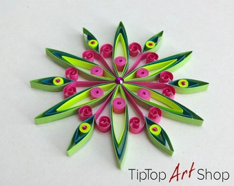 Paper Quilling Snowflake Ornament in Neon Yellow, Hot Pink, Green and Teal; Christmas Decoration by TipTopArtShop