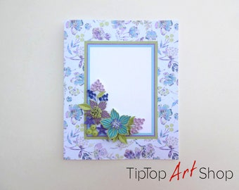 Quilling Card With Paper Flowers Handmade Birthday Blank Greeting
