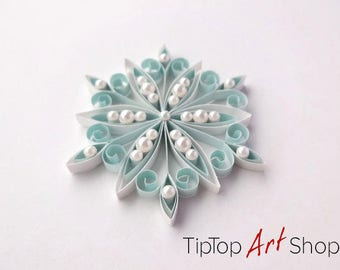 Blue Christmas Decoration - Quilled Snowflake Ornament - Gift Packaged