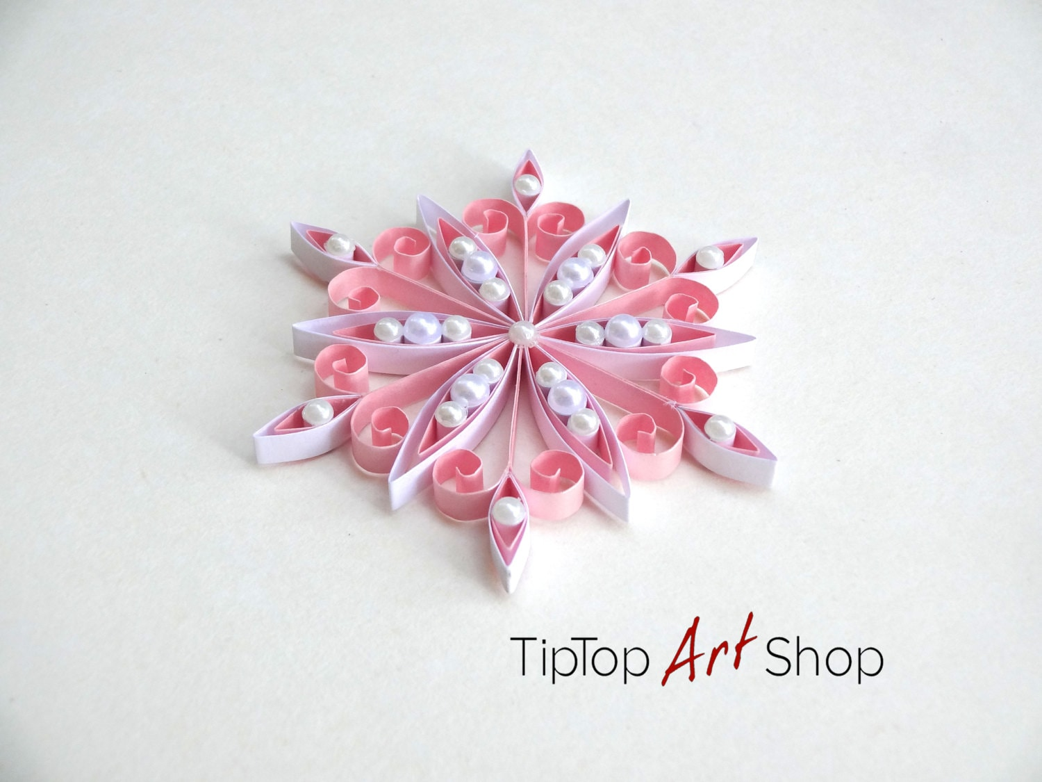 Quilled Snowflake Ornament for Seasonal Home Decor in Pink and