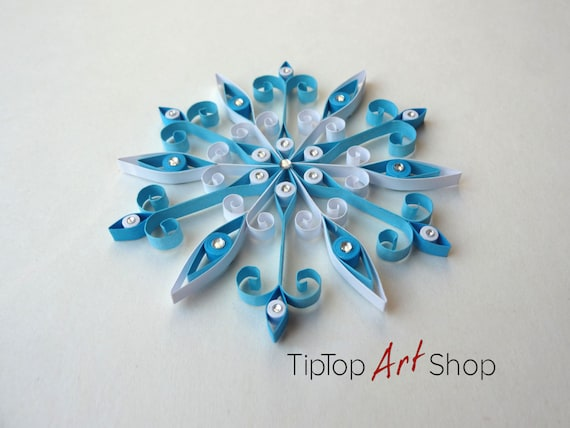 Quilled Christmas Ornament Handmade Paper Snowflake In Blue Etsy