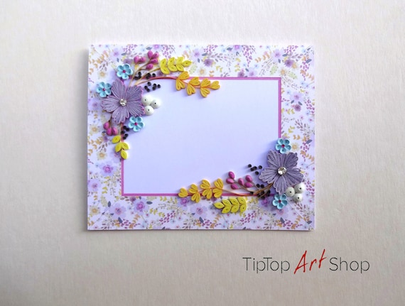 Paper quilling greeting card with handmade flowers mom etsy image 0 m4hsunfo