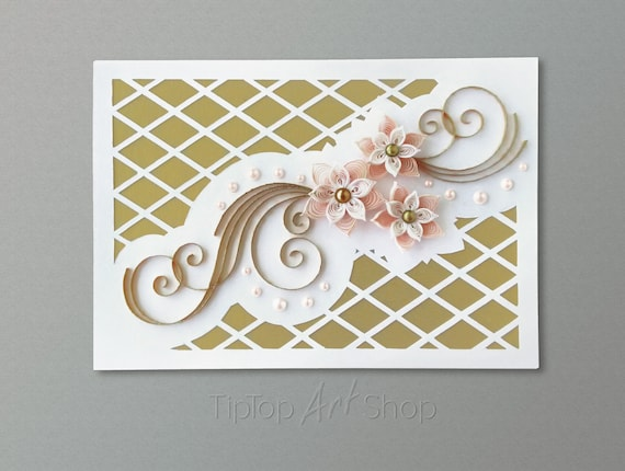 Homemade Quilling Wedding Card Pale Peach And Gold Wedding Invitation