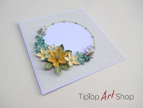Quilling anniversary card with handmade paper flowers in etsy image 0 mightylinksfo