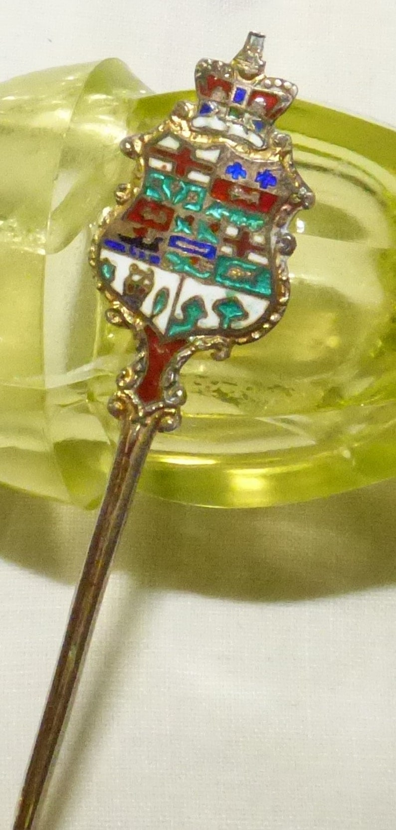 Antique Yarmouth Nova Scotia Sterling Silver Souvenir Demitasse Spoon with Gold Wash and Enamel 1900