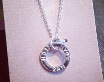 Handmade fine silver name charm necklace