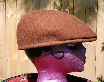 3f934e5ec96 1960 s vintage Brown wool Newsboy hat 60 s brown wool driving hat 60 s  brown wool newsboy flat cap medium