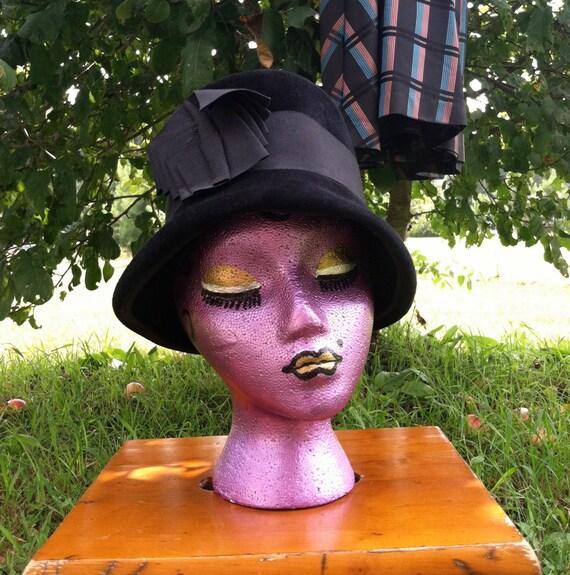 40's vintage hat/40's black wool felt  hat /40's … - image 2