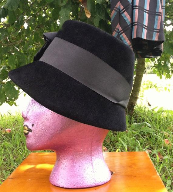 40's vintage hat/40's black wool felt  hat /40's … - image 3
