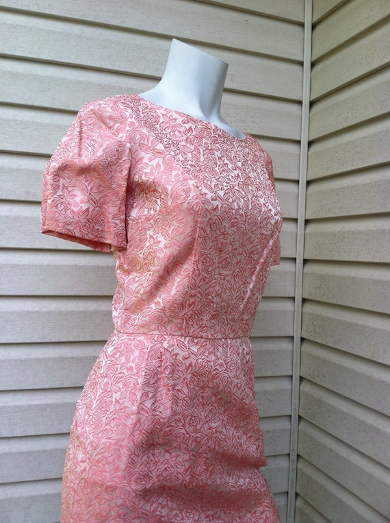 1950's vintage Pink Brocade party dress New Look/… - image 1