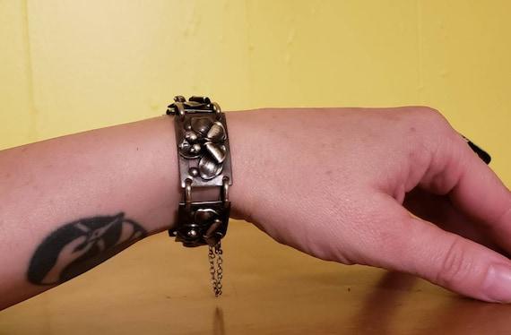 40's  handmade sterling silver bracelet/40's Lotus